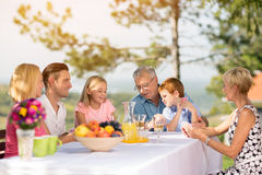 Family play cards together. In garden Royalty Free Stock Image