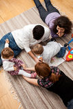 Family play floor home Stock Photos
