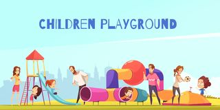 Family Playground Kids Composition. Children playground composition with urban scenery and playground with doodle characters of parents playing with their kids Royalty Free Stock Photo