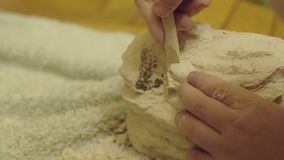 Family playing in the archeology destroys the plaster to get the skeleton. archaeological excavations.  stock footage