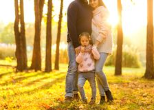 Family playing in autumn park having fun at sunset. Park at sunset of the day Stock Photography