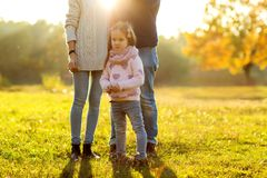 Family playing in autumn park having fun at sunset. Park at sunset of the day Stock Image