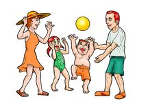 Family playing ball vector illustration