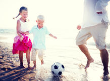 Family playing beach Happiness Relation Concept.  royalty free stock photography