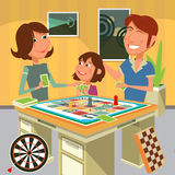 Family playing a board game vector illustration Royalty Free Stock Image