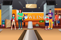 Family Playing Bowling Royalty Free Stock Photo