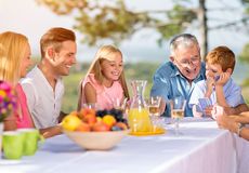 Family playing card game Royalty Free Stock Images