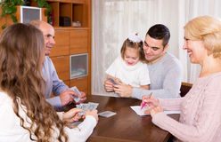 Family playing cards Royalty Free Stock Photo