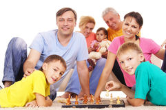 Family playing chess Royalty Free Stock Images