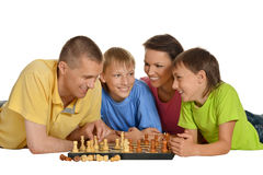 Family playing chess Stock Photography