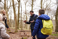 Family playing with fallen leaves in a wood, close up Royalty Free Stock Photo