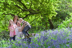 Family playing in field of bluebell flowers Royalty Free Stock Image