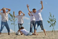 Family playing football Royalty Free Stock Photo