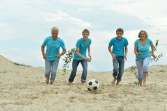 Family playing football Royalty Free Stock Photography