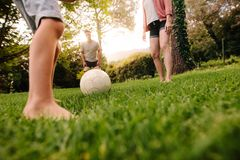 Family playing football in garden lawn Stock Photography