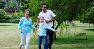 Family playing football in the park stock video footage