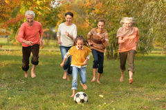 Family playing football Royalty Free Stock Images