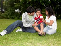 A Family Playing in garden stock photography