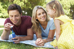Family Playing In Garden And Blowing Bubbles Stock Image
