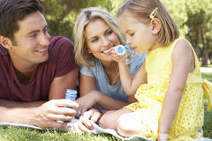 Family Playing In Garden And Blowing Bubbles Stock Images