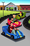 Family playing go-kart Stock Photos