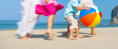 Family Playing Happiness Bonding Recreation Beach Concept.  Royalty Free Stock Photos