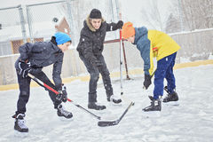 A family playing. Hockey at the skating rink in winter royalty free stock images