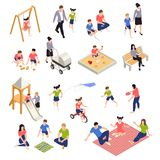 Family Playing Isometric Icons Set Stock Image