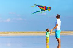 Family playing with kite, summertime Stock Photography