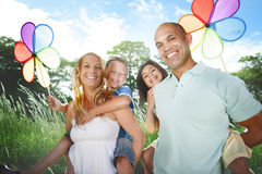 Family Playing Outdoors Children Field Concept Royalty Free Stock Photo