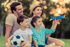 Family playing outside Stock Photography