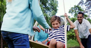 Family playing in the park stock footage
