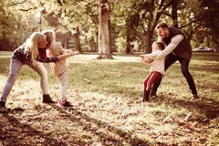 Who is stronger. Family playing with rope in park stock image