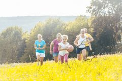 Family playing, running and doing sport in summer royalty free stock photo