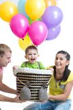 Family playing with son in flight on a makeshift Stock Photos