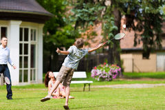 Family is playing in summer badminton Stock Photography