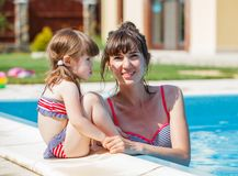 Family playing in swimming pool. Stock Photos