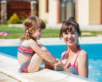 Family playing in swimming pool. Royalty Free Stock Images