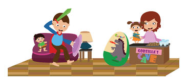 Family playing together in living room. EPS file available Stock Photography