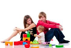 Family playing with toys Royalty Free Stock Photos