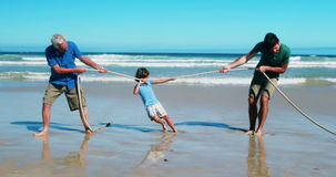 Family playing tug of war at the beach stock footage