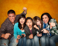 Family Playing a Video Game royalty free stock photos