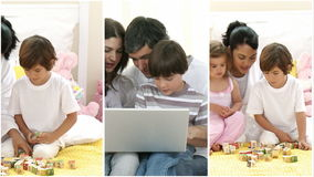 family playing video games Royalty Free Stock Images