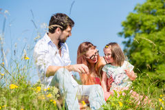 Family playing with wildflowers on meadow Stock Photo