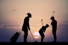 Family plays golf Royalty Free Stock Photos