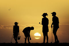 Family plays golf. Illustration of family plays golf at sunset Royalty Free Stock Photos