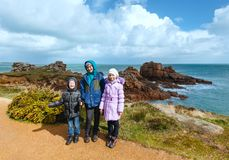 Family and Ploumanach coast spring view (Brittany, France) Royalty Free Stock Images
