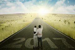 Family is pointing bright future on the road Royalty Free Stock Images