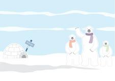 Family polar bear and igloo,Vector illustrations Royalty Free Stock Photography