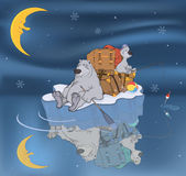 Family of polar bears on an ice floe. Cartoon Royalty Free Stock Photo
